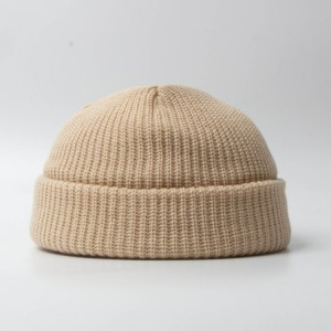 Classic Acrylic Knitted Cuff Winter Hat Short Ribbed Fisherman Beanie Hats Men